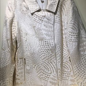 Chico's size 2 Gold & Ivory Quilted Jacket